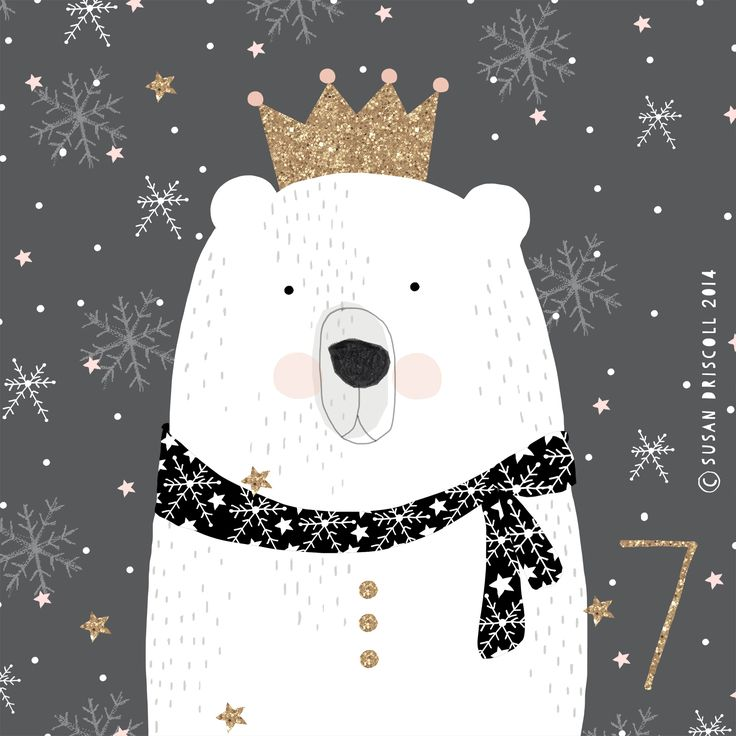 Illustration ours polaire - Noel - Susan Driscoll Advent 2014 theprinttree.com