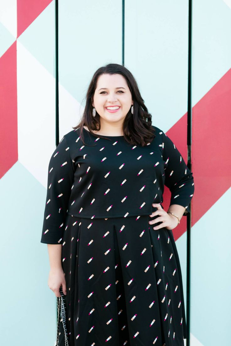 Emily Bastedo, the blogger behind curvy style blog, Something Gold, Something Blue shares this girly lipstick print matching set from the Ashley Nell Tipton collection for Boutique+ at JCPenney. She has styled this all black outfit with dainty silver accesorries.