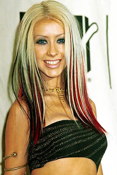 1990's Block colouring. Christina Aguilera. I will have this hair color some day. It reminds me of Harley Quinn :D