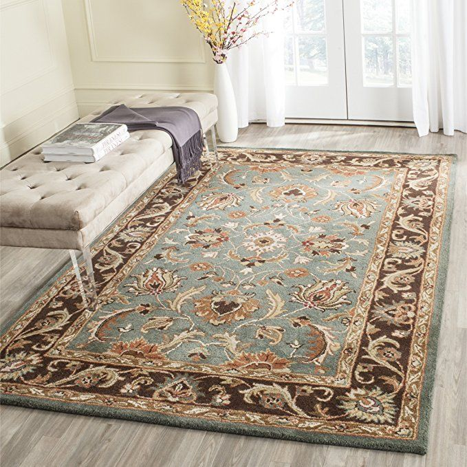 Safavieh Heritage Collection Hg812b Handcrafted Traditional Oriental Blue And Brown Wool Area Rug 12 X 15 Wool Area Rugs Heritage Collection 4x6 Area Rugs