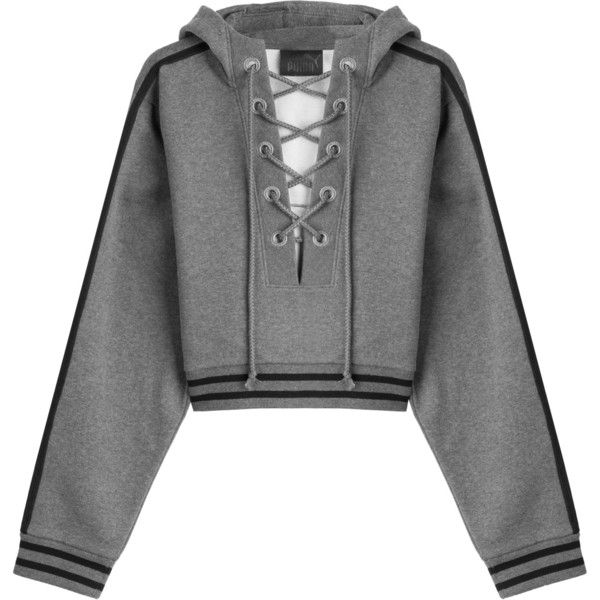 Fenty x Puma by Rihanna Cotton Hoody ($150) ❤ liked on Polyvore featuring tops, hoodies, grey, striped hoodie, oversized hoodie, cropped hooded sweatshirt, sweatshirt hoodies and cotton hooded sweatshirt