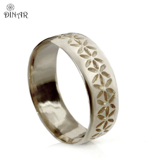 Popular Sterling silver Wedding band hand engraved flowers by SilverArk