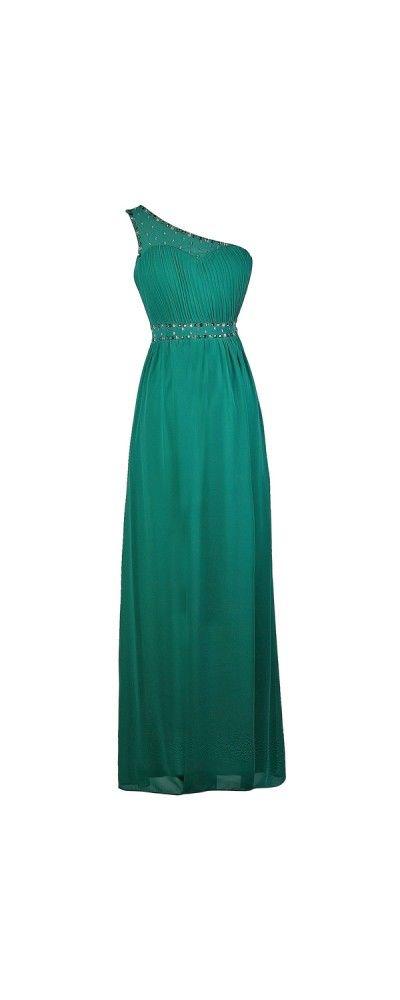 Lily Boutique Sparkle In Style One Shoulder Embellished Maxi Dress in Teal, $46 Teal One Shoulder Maxi Dress, Cute Maxi Dress, Teal Prom Dress, Embellished Teal Dress www.lilyboutique.com