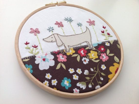 Dachshund art sausage dog hoop art dog textile by BoxRoomBazaar, £16.00
