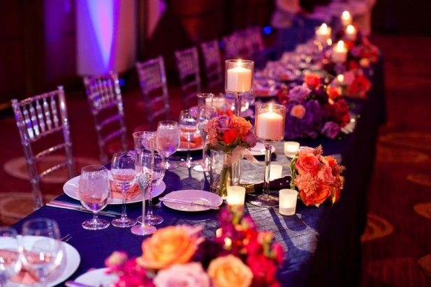 An incredibly executed sunset themed wedding with modern glamour at Four Seasons Hotel St. Louis.