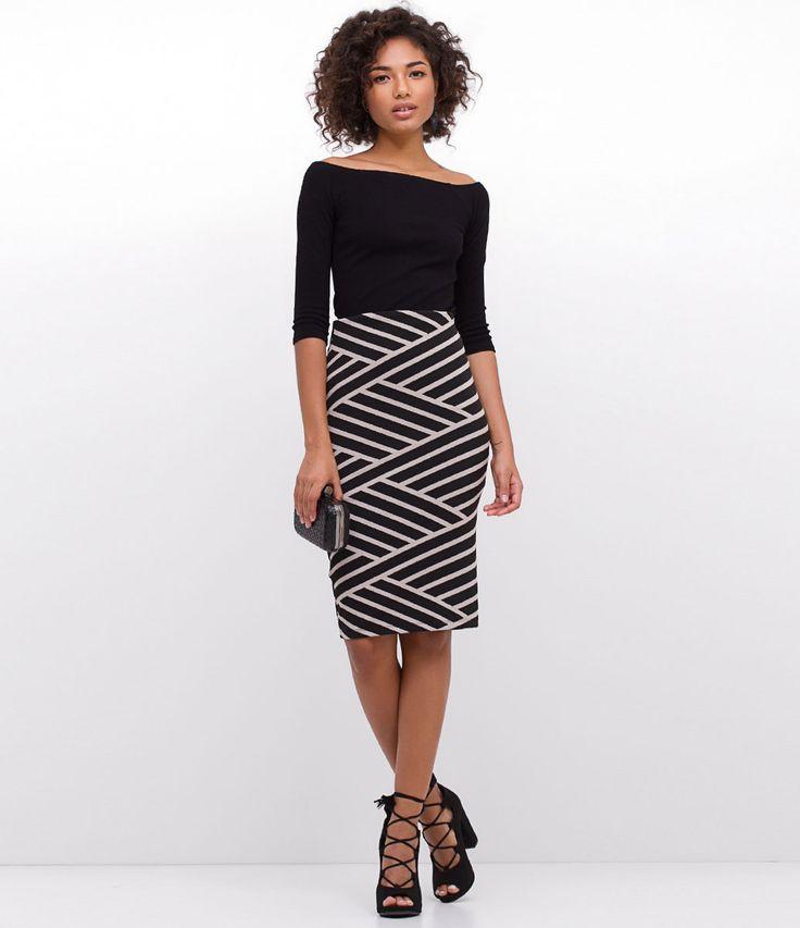 Saia feminina Modelo midi Listrada Marca: Just Be Tecido: jacquard Composição: 64% poliéster, 26,5 viscose e 9,5% elastano 64% … | Moda e Estilos | Pinterest
