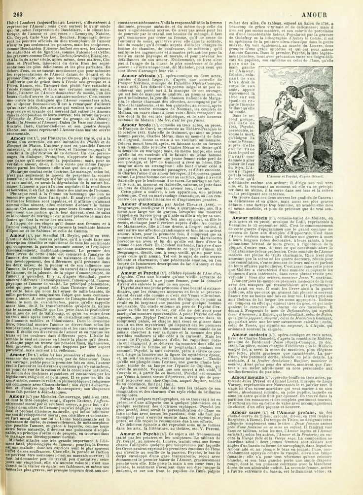 """Vintage Ephemera: French Dictionary Page; """"Amour"""" (Love), 1898, vintage printable"""