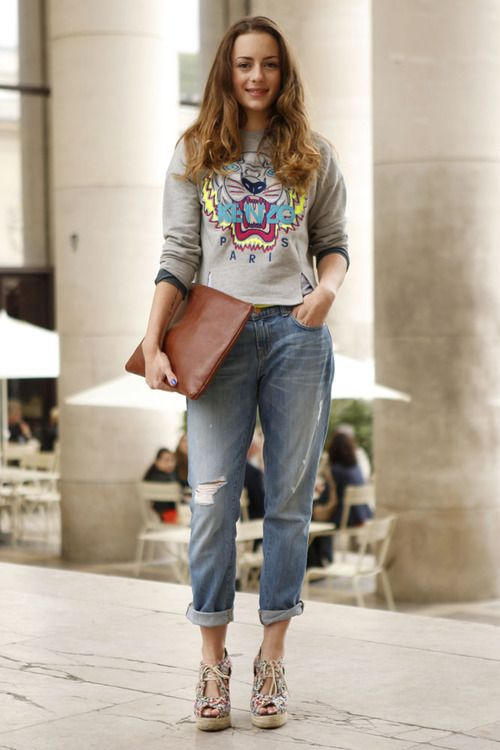 Laid back boyfriend roll-ups receive a playful update with girly-print shoes and a @Kenzo_Paris cartoon print sweater #StreetStyle WGSN Street Shot, Paris Mens Fashion Week, Spring/Summer 2014