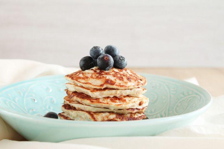 Gesunde Pancakes mit Quark, Banane, und Haferflocken