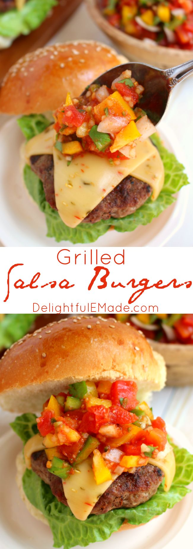 Fire up the grill, its time for some amazing burgers! Salsa made with delicious tomatoes, peppers, onions and garlic, along with pepper jack cheese bring serious flavor and freshness to our favorite summertime staple! #HuntsFreshTwists #ad @huntschef