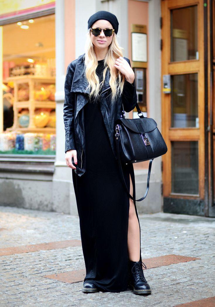 Dr. Martens , Weekday maxi dress,  Langos purse, Karen Walker sunnies