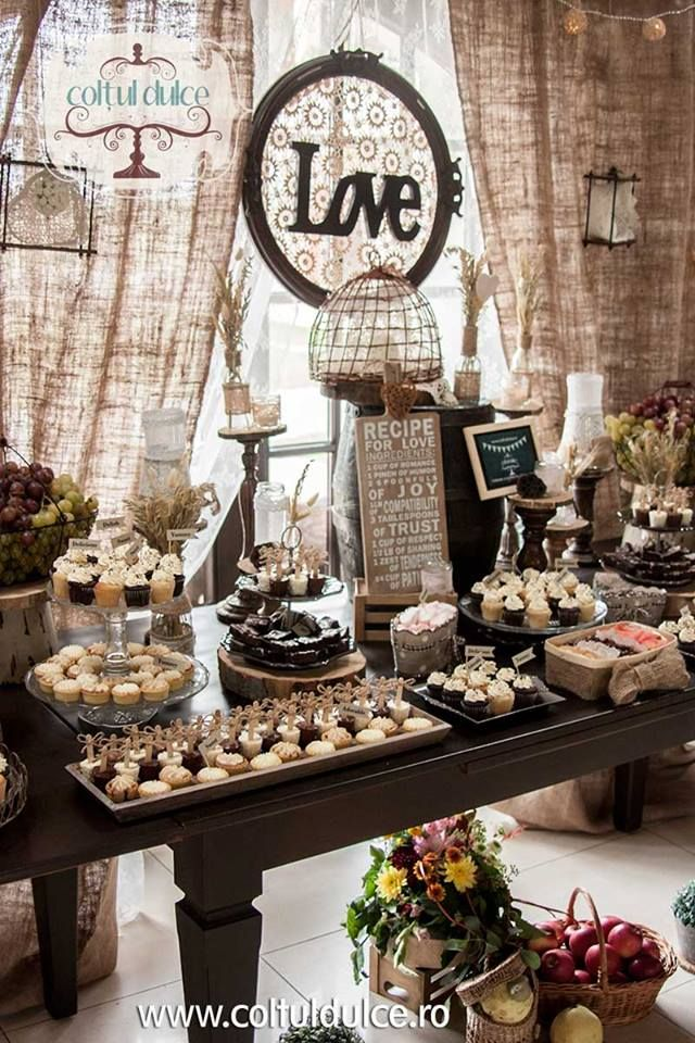 rustic theme vintage theme candy bar dessert table. Black Bedroom Furniture Sets. Home Design Ideas