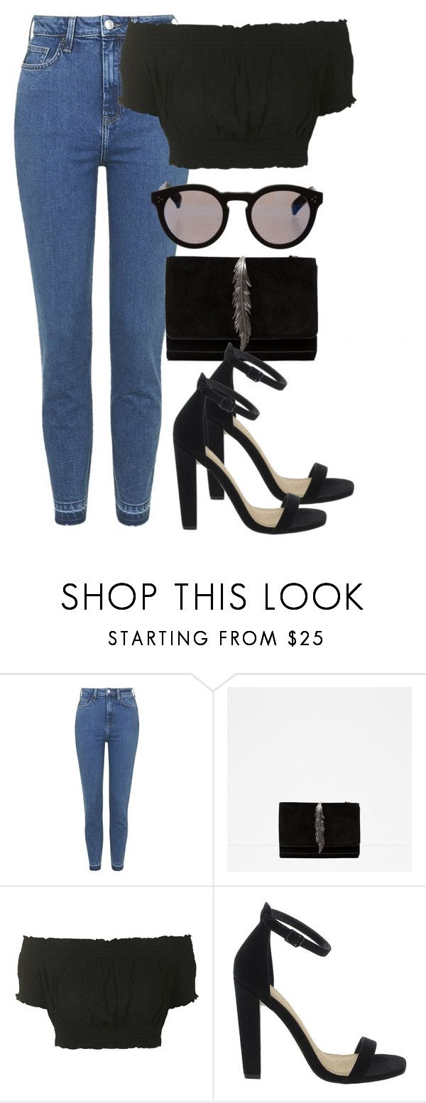 """""""i don't care"""" by tish-nyu ❤ liked on Polyvore featuring Topshop, Zara, ASOS and Illesteva"""