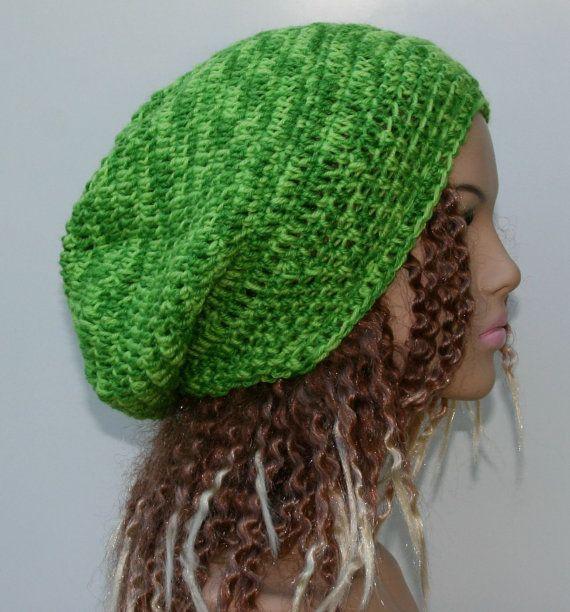 Pure Wool hat slouchy beanie green dread tam by PurpleSageDesignz