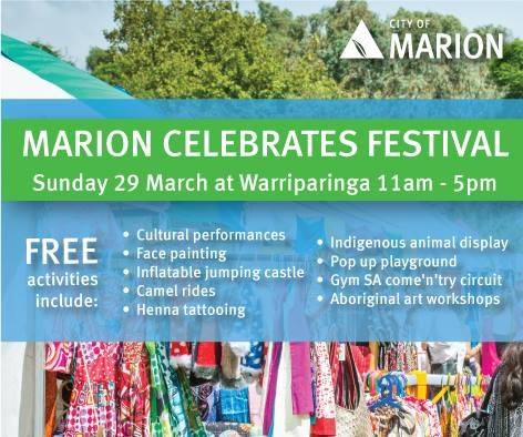 Come and celebrate with us at this free community event.  	Marion Celebrates - Many Cultures, O Read More... Event Location: Living Kaurna Cultural Centre, Warriparinga, Bedford Park