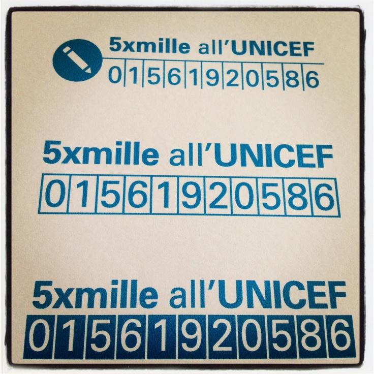 Donare il #5x1000 all'UNICEF... Non ti sembra una buona idea?  Il 1° ottobre scade il termine per la consegna del modello UNICO.  In quest'immagine il codice fiscale UNICEF da inserire nella dichiarazione dei redditi.  Vuoi saperne di più? http://cinquepermille.unicef.it/