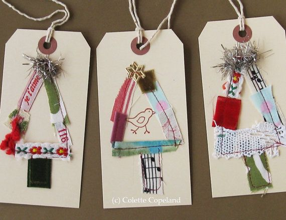 Original tag art, Yule tags II, Christmas trees, set of 3,one of a kind