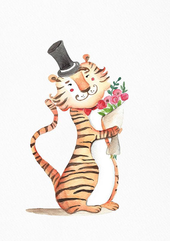 Tiger with flowers | Animal watercolor print | Nursery wall art decor | Happy valentines | Baby room print | Animal watercolor painting |