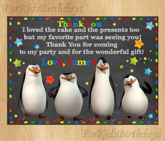The Penguins of Madagascar Thank You Card,  Penguins Birthday Thank You Note, PERSONALIZED, Digital File