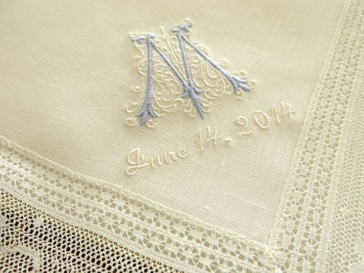 Ivory color irish linen lace handkerchief with classic
