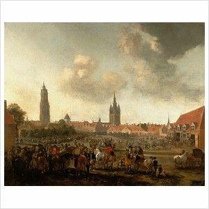 Pieter Wouwerman, Gezicht op de Paardenmarkt in Delft, 1665