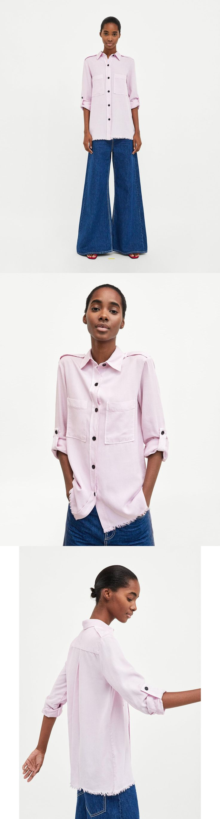 Lilac Shirt With Pockets // 49.90 USD // Zara // Flowing military-style shirt with collar and long sleeves with tabs on the shoulders and sleeves. Features patch front pockets, a crease in the back and a button-up front. JOIN LIFE Care for fiber: TENCEL®Lyocell. TENCEL® is derived from wood grown in sustainable forests that guarantee reforestation. HEIGHT OF MODEL: 178 cm. / 5′ 10″