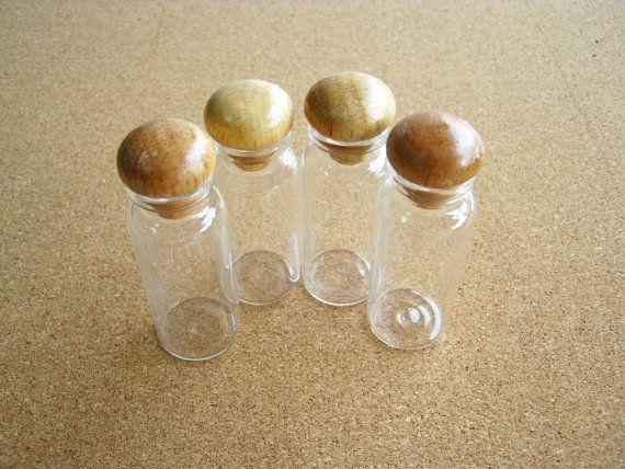Glass Bottle Glass Bottle 6pcs Wooden Cover   Clear Bottle wood top High Quality , gift box,,wedding favor, woman