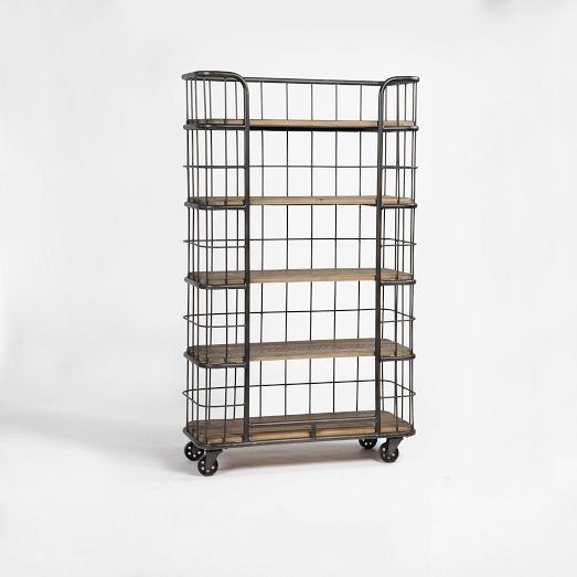 made of reclaimed pine that bears the knots and of its previous life the bleached pine rolling bookcase is a rugged beauty the open shelves