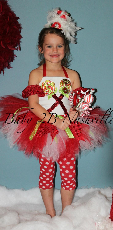 Girls 7-8 Christmas Candyland Tutu Costume Set. $106.00, via Etsy.