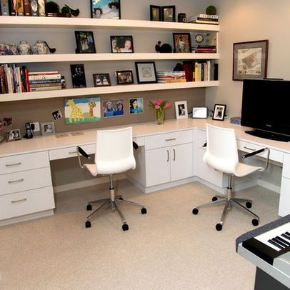 Built in Corner Desk | Home Office with His and Her built-in corner desk | For the Home