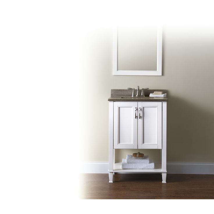 Photo Image Powder Room Vanity Lower Shop Style Selections Ashen White Undermount Single Sink Bathroom Vanity with