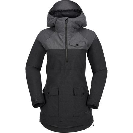 Ditching the full-zip design of traditional jackets, the Volcom Women's Ship Hooded Pullover sports the longer silhouette of a pullover anorak for excellent protection from deep snow and a cleaner aesthetic. The jacket is fitted through the sleeves and body for a sleek, stylish look, with a longer drape that maximizes protection.