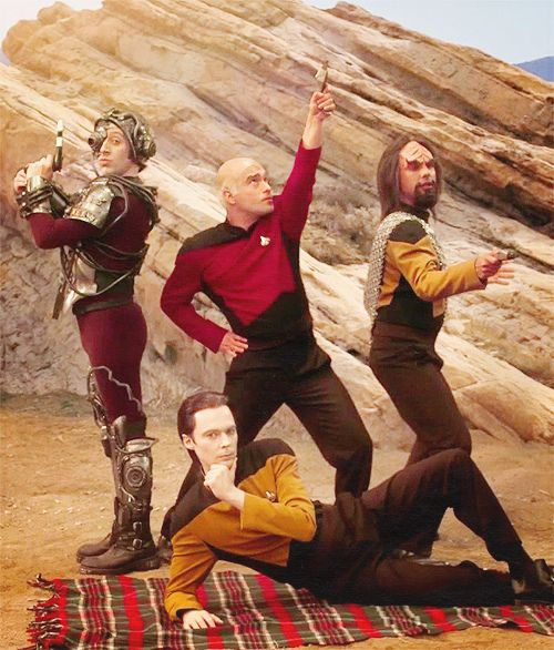 Johnny Galecki, Jim Parsons, Kunal Nayyar, and Simon Helberg decked out in Star Trek: The Next Generation gear. Personally my favorite part was when they came home to find the three ladies arguing about comic books and in particular the properties of Thor's hammer.