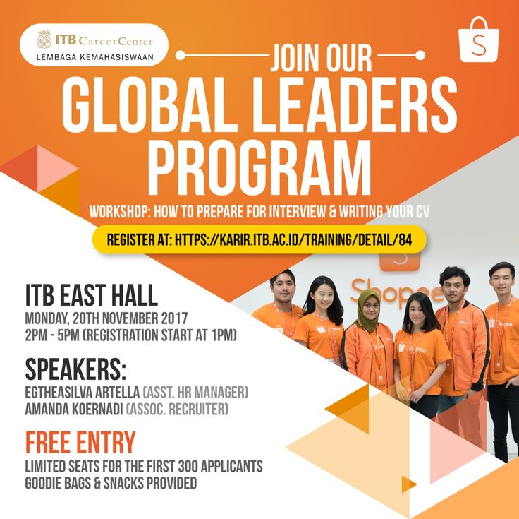 Shopee invited you to join Career Workshop (How to prepare for Interview and writing your CV) and Global Leaders Program Recruitment  Event. Monday, 20th Nov'17 at East Hall ITB. Limited for first 300 applicants.   Info >> http://bit.ly/shopeecareertalk