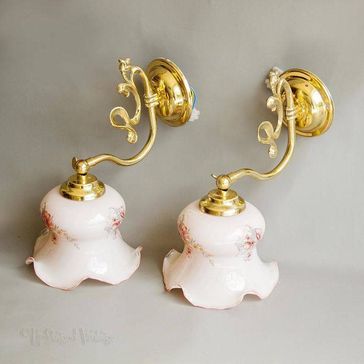 Vintage Brass Art Nouveau Style PAIR of Pivoting Brass Wall Lights Pink Floral Glass Shades by UpStagedVintage on Etsy
