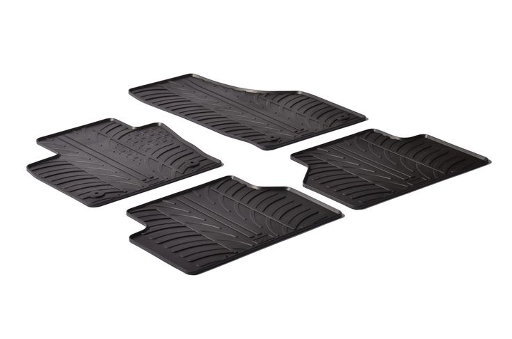 Gledring 2012-2016 Audi Q3 Custom Fit All Weather Floor Mats - Protect your car floor carpet with these custom molded rubber floor mats. This 4 piece set will cover the floor area for the front and rear seats. The rubber material will hold the floor mats in place. These mats also have holes for the factory floor anchors for an even more secure fitting. There is no trimming needed. Just set them in place and secure the front floor mat anchors in place. These heavy duty mats are produced out…