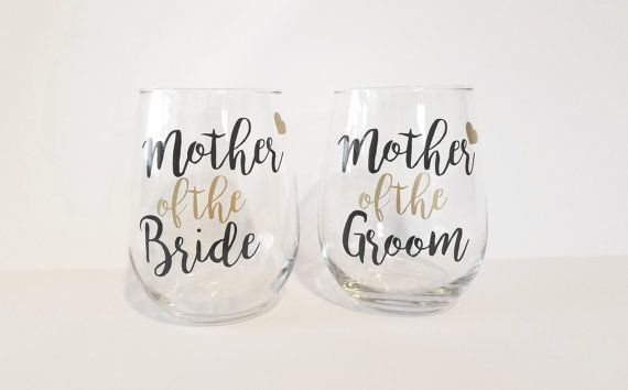 Mother of the Bride Wine Glass Mother of the by WeddingsByLeann