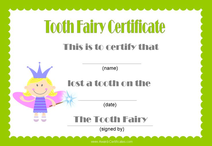Lucrative image in tooth fairy certificates printable