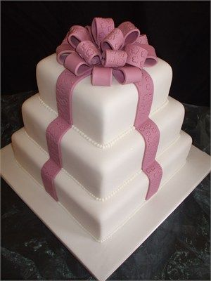 3 Tier Square weeding Cake Decorated with Dusky Pink Sugar Ribbon