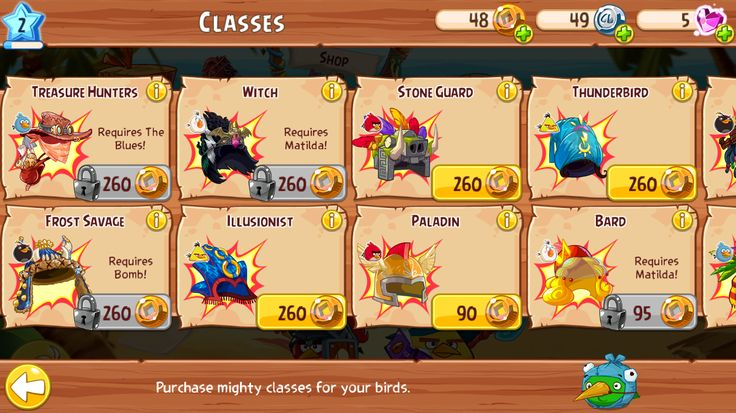 Angry Birds RPG: Top level category products.