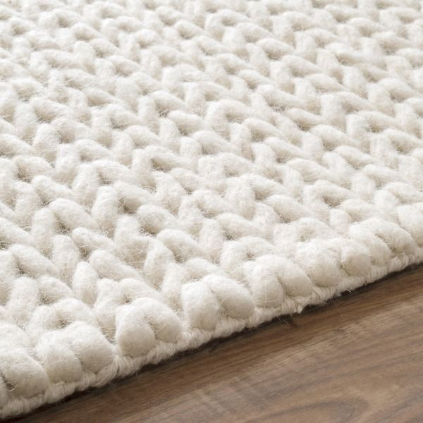 Nuloom Handmade Braided Cable White New Zealand Wool Rug 3 X 5 Gray Grey Size