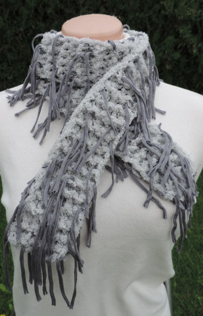 "Very interesting unusual scarf, soft to the touch and well worn. Fancy yarn with tassels which creates a unique look :-) Measurement: Scarflette length is ~ 50"" (~ 130 cm.) Composition: - 32% Modal, 27% Virgin Wool, 27% Acrylic and 14% Polyamide - light gray and gray color - unisex. Handmade with ♥ $10.42 USD"