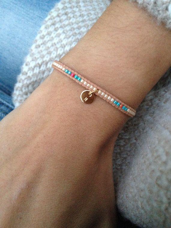 Custom Beaded bracelet Boho jewelry - stackable and adjustable Miyuki bead bracelet handmade with handstamped charm