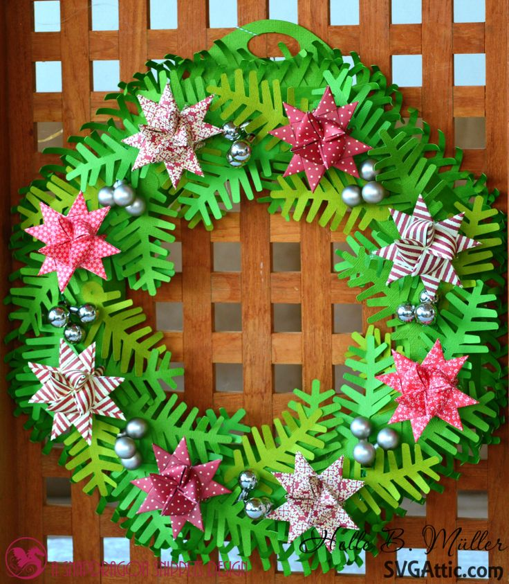 Folded Star Sprigs 3D Wreath from #svgattic