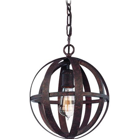 Add an industrial touch to your foyer or dining room with this hand-worked wrought iron pendant, showcasing cage-inspired design and Edison bulb.