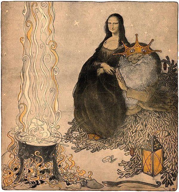 Mona Lisa & Santa, by John Bauer. Christmas 1911 More