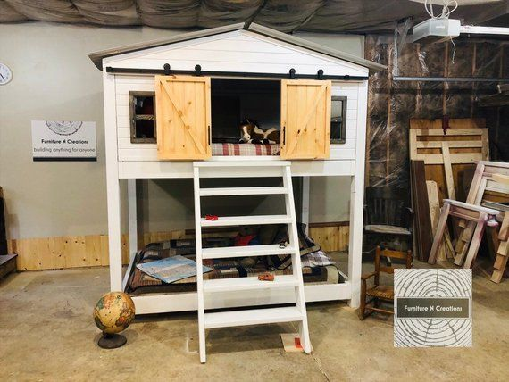Full Size Barn Door Bunk Beds Need I Say More House Beds For Kids Full Bunk Beds Bunk Beds