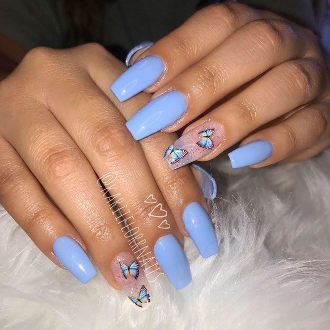Lovely Nail Designs For Summer 2020 In 2020 Blue Acrylic Nails Best Acrylic Nails Summer Acrylic Nails