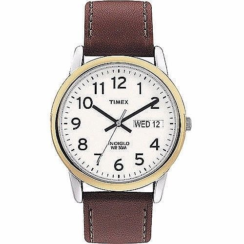 Timex Analog Easy Reader Mens Watch With Brown Leather Strap Classic New #Timex
