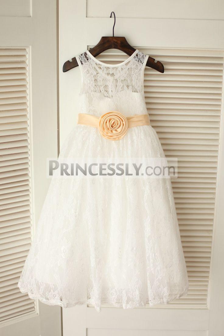 Princessly.com-K1003227-Ivory Lace Flower Girl Dress with Champagne Flower Sash Belt-31